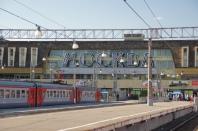 Ankunft am Bahnhof in Moskau